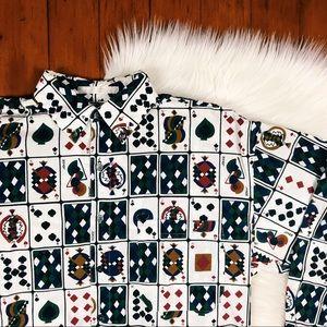 Perry Ellis Poker Card King Queen ButtonDown Shirt